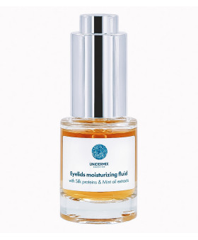 Eyelids moisturizing fluid with Silk proteins and Mint oil extracts